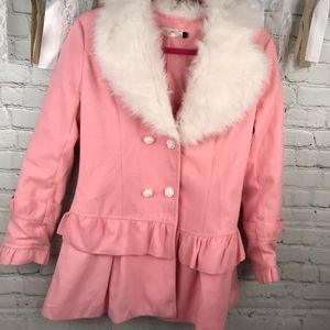 Other - Golds girls Large pink pea coat faux fur